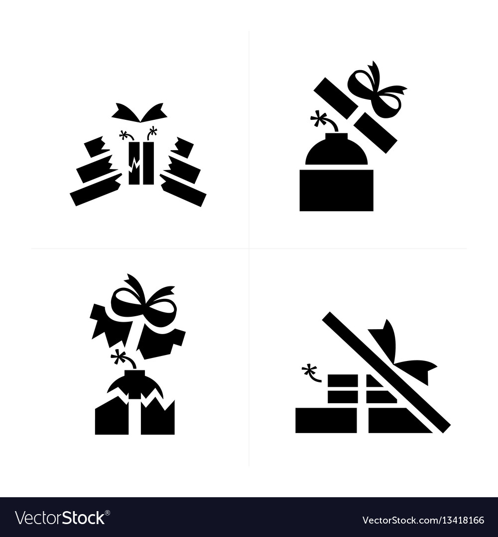 Set black blast in gift icons is damage vector image