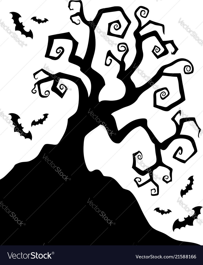 spooky silhouette of halloween tree vector image