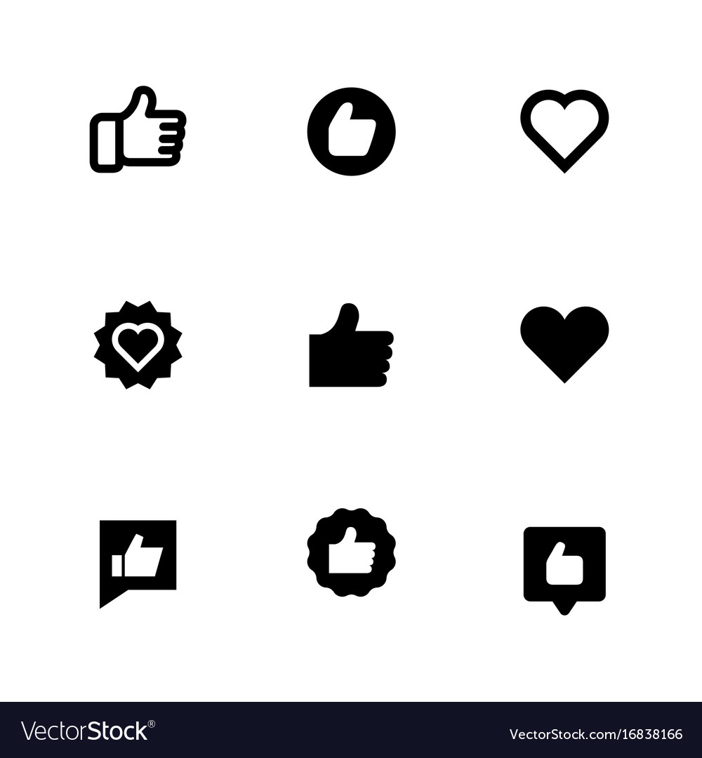 Thumbs up and heart signs flat icons