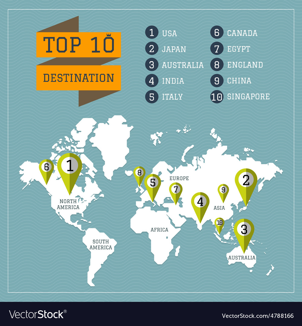 World map travel destination with pin royalty free vector world map travel destination with pin vector image gumiabroncs Image collections