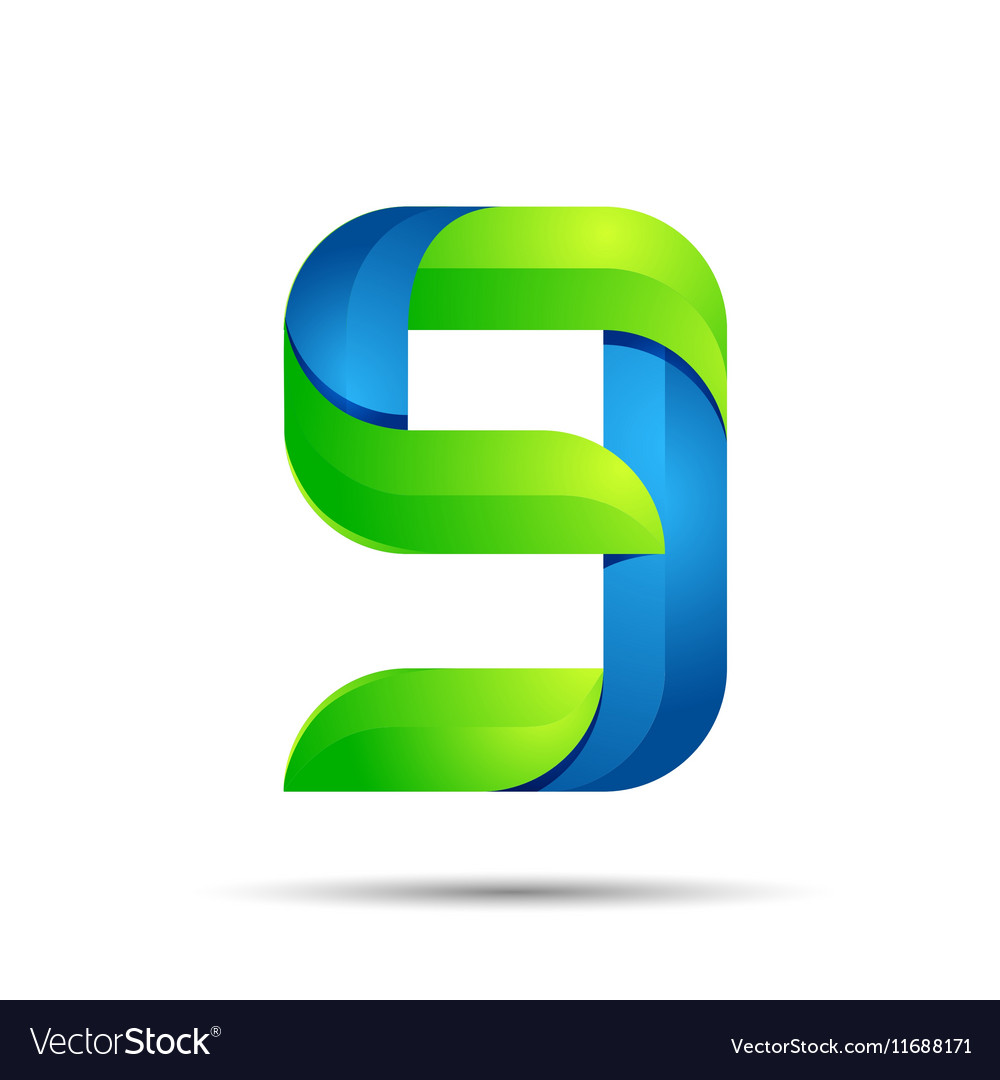 3d Number nine 9 logo with speed green leaves vector image