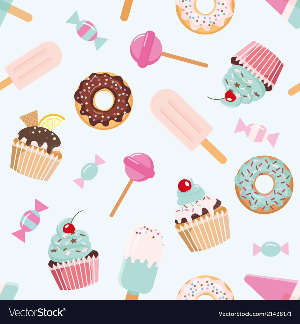 Birthday seamless pattern with sweets girly for