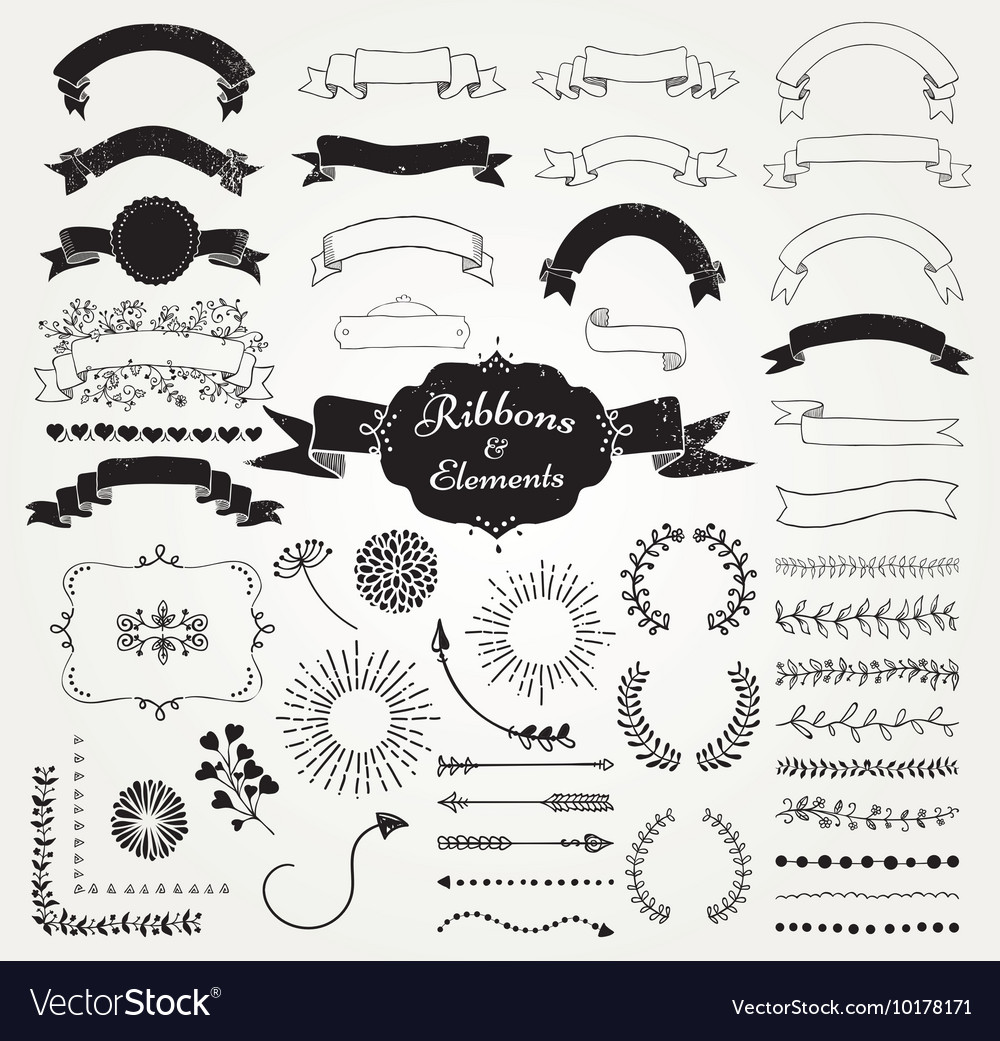Black Hand Drawn Design Elements and