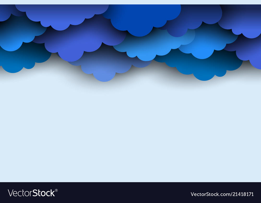 Border blue paper cut clouds for design vector