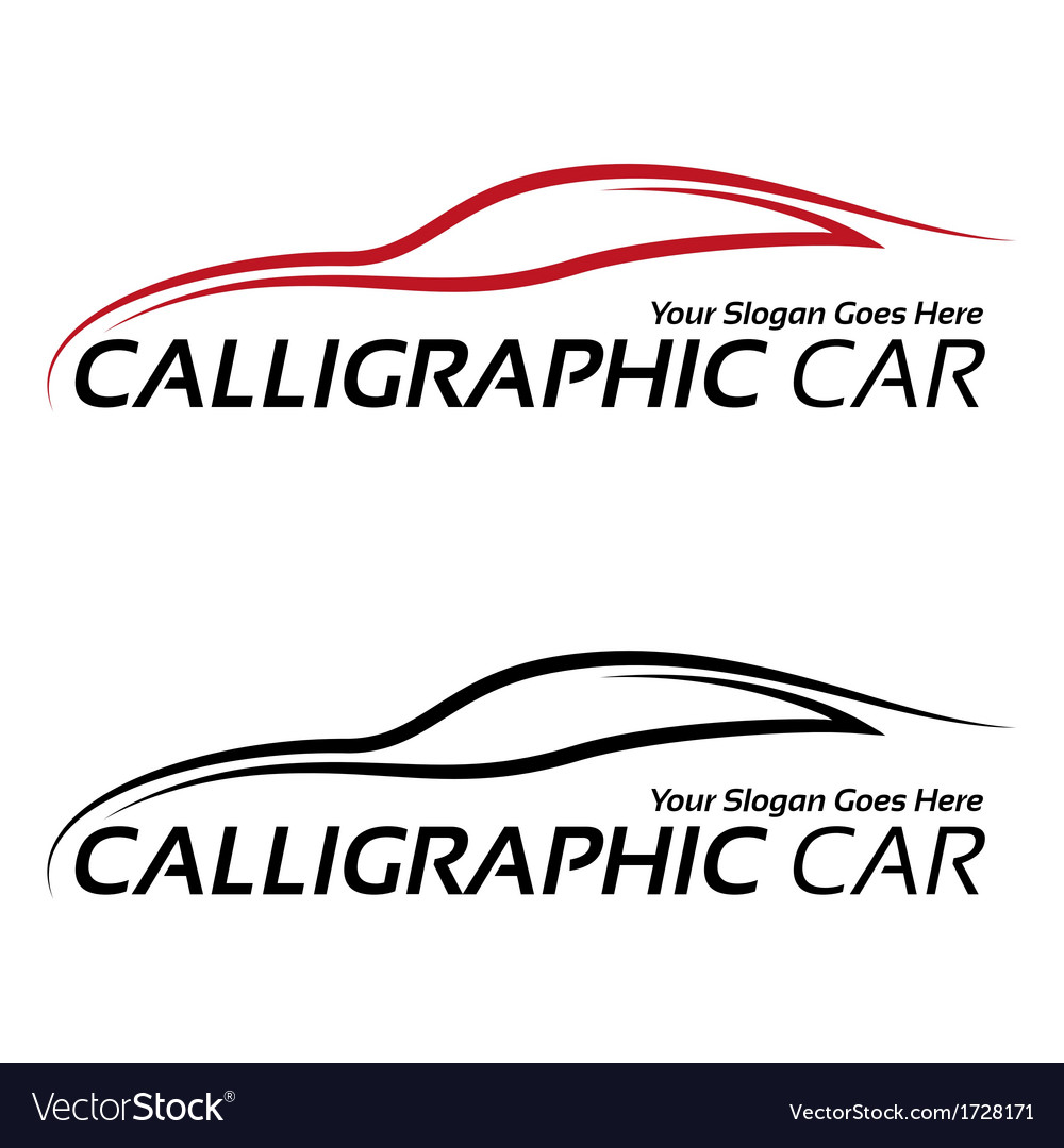calligraphic car logos royalty free vector image