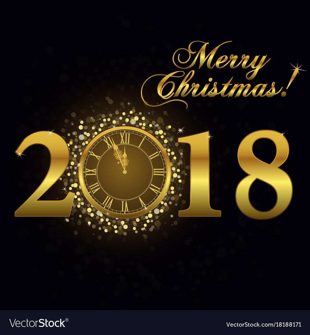 Gold clock happy new year