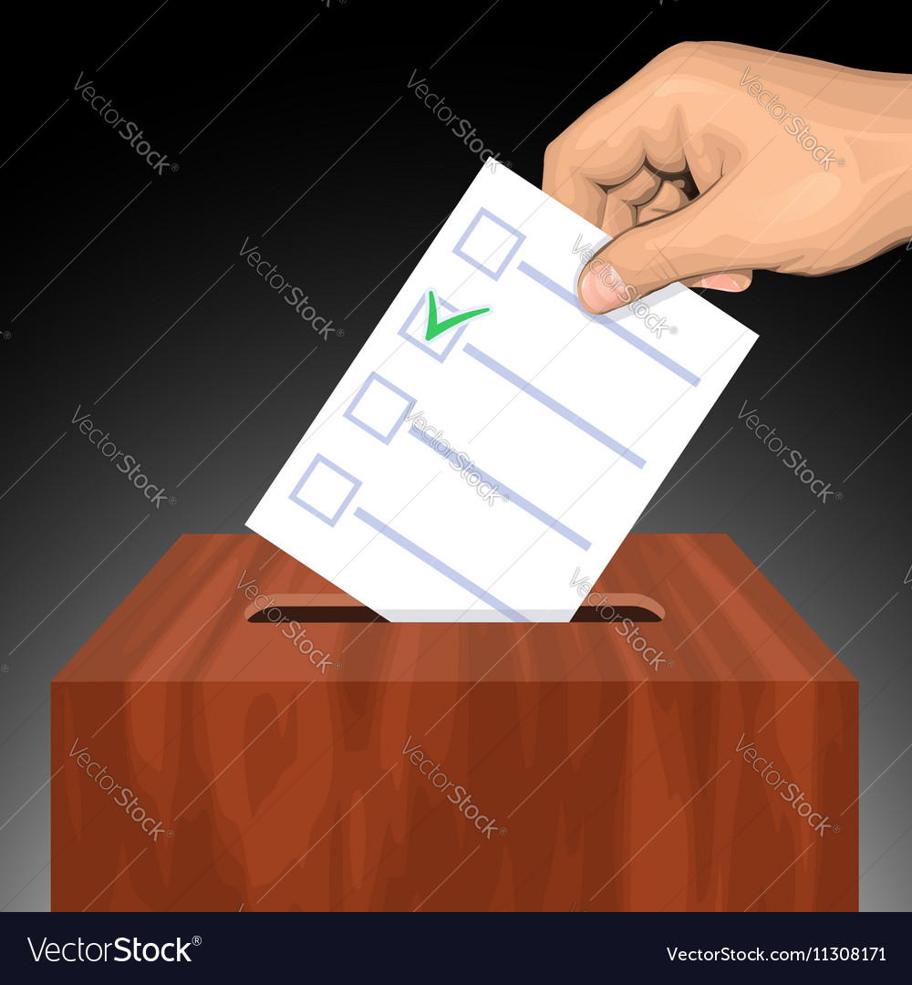 Hand putting voting paper with approved checkmark