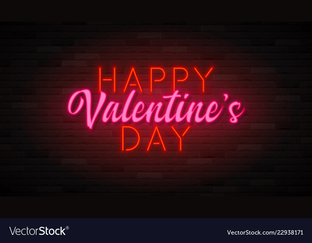 Happy valentine s day neon banner