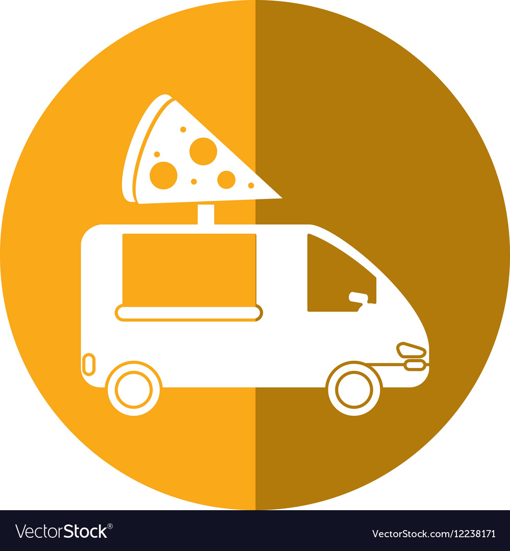 Pizza delivery truck fast food shadow vector image