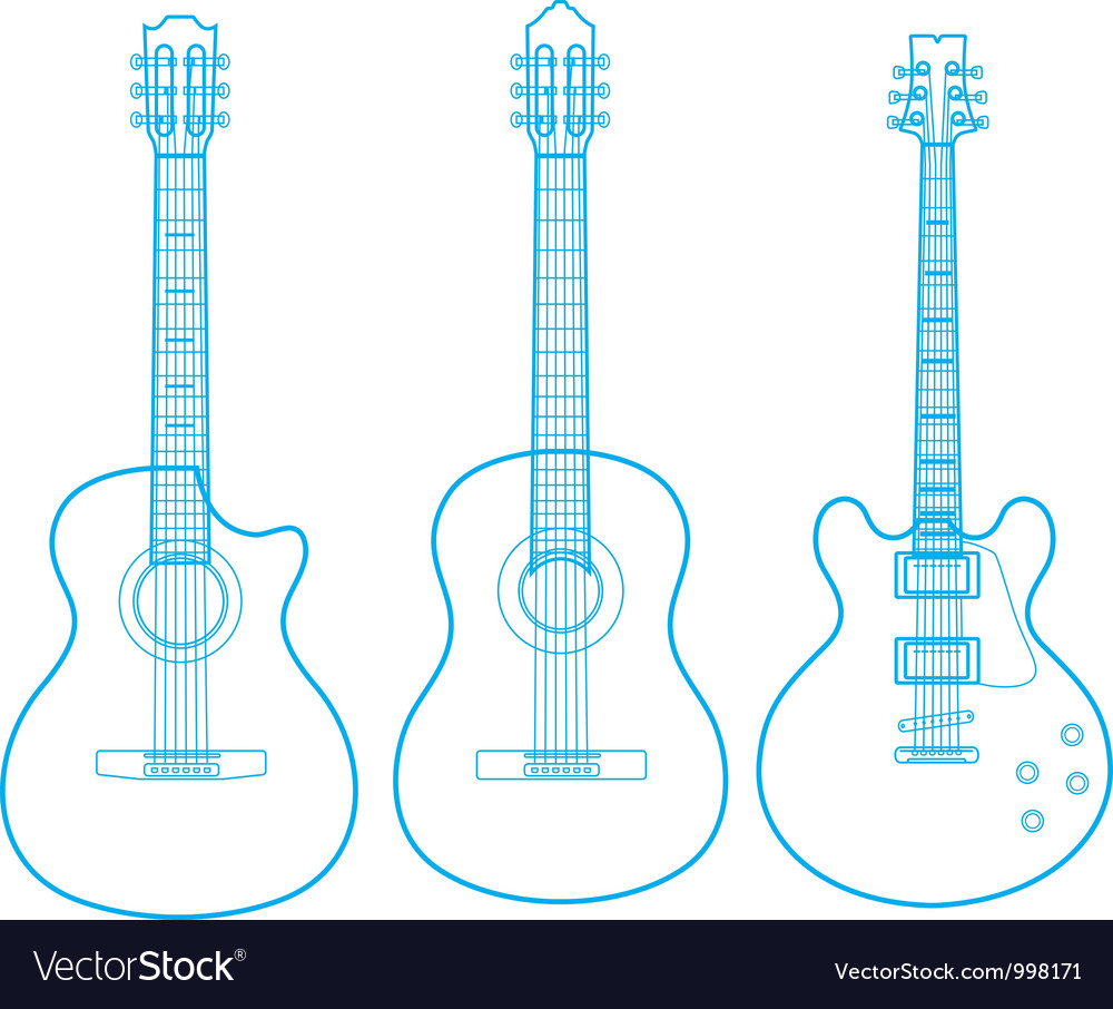 Silhouettes of classic guitars isolated on white