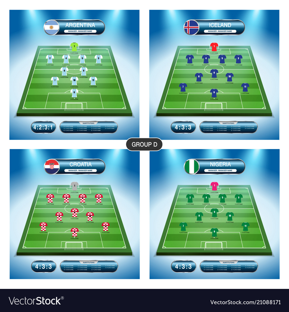 Soccer team player plan group d with flags