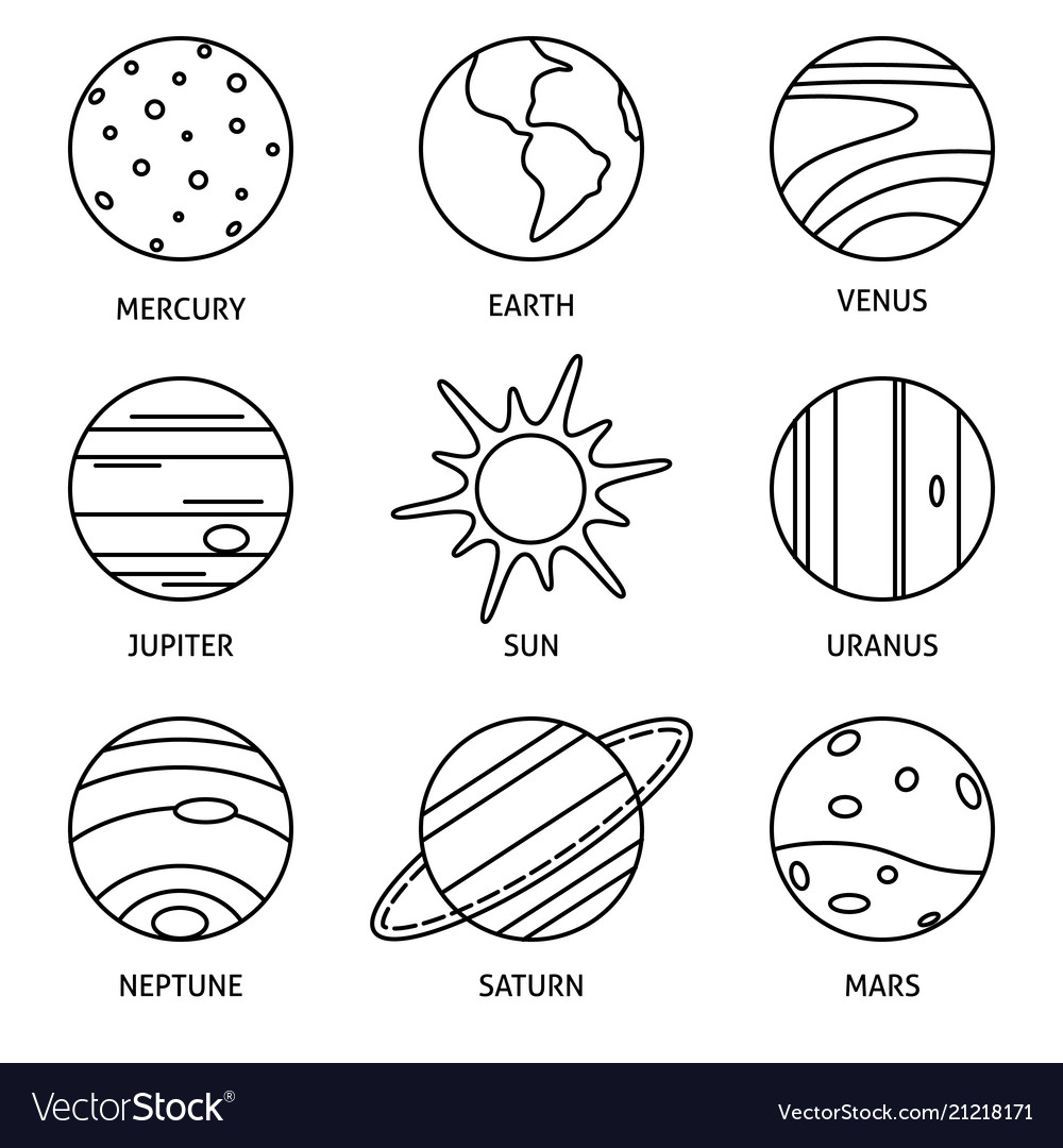 Solar system planets icon set in thin line style