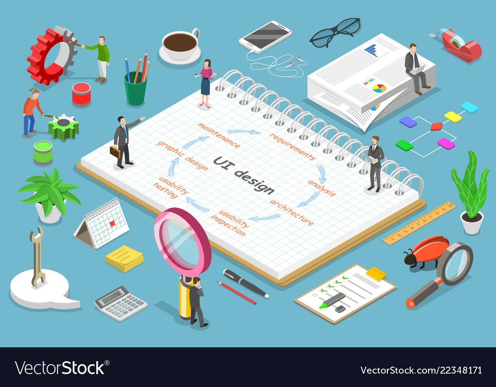 Ui design process isometric flat concept