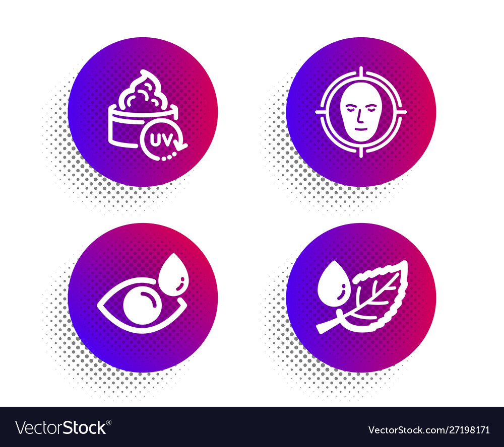 Uv protection face detect and eye drops icons set
