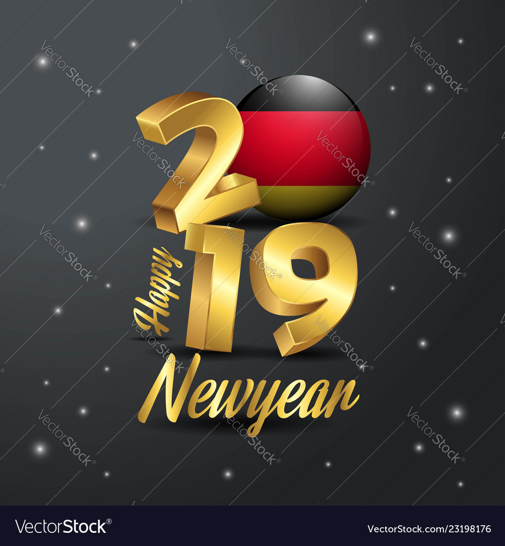 2019 happy new year germany flag typography vector image