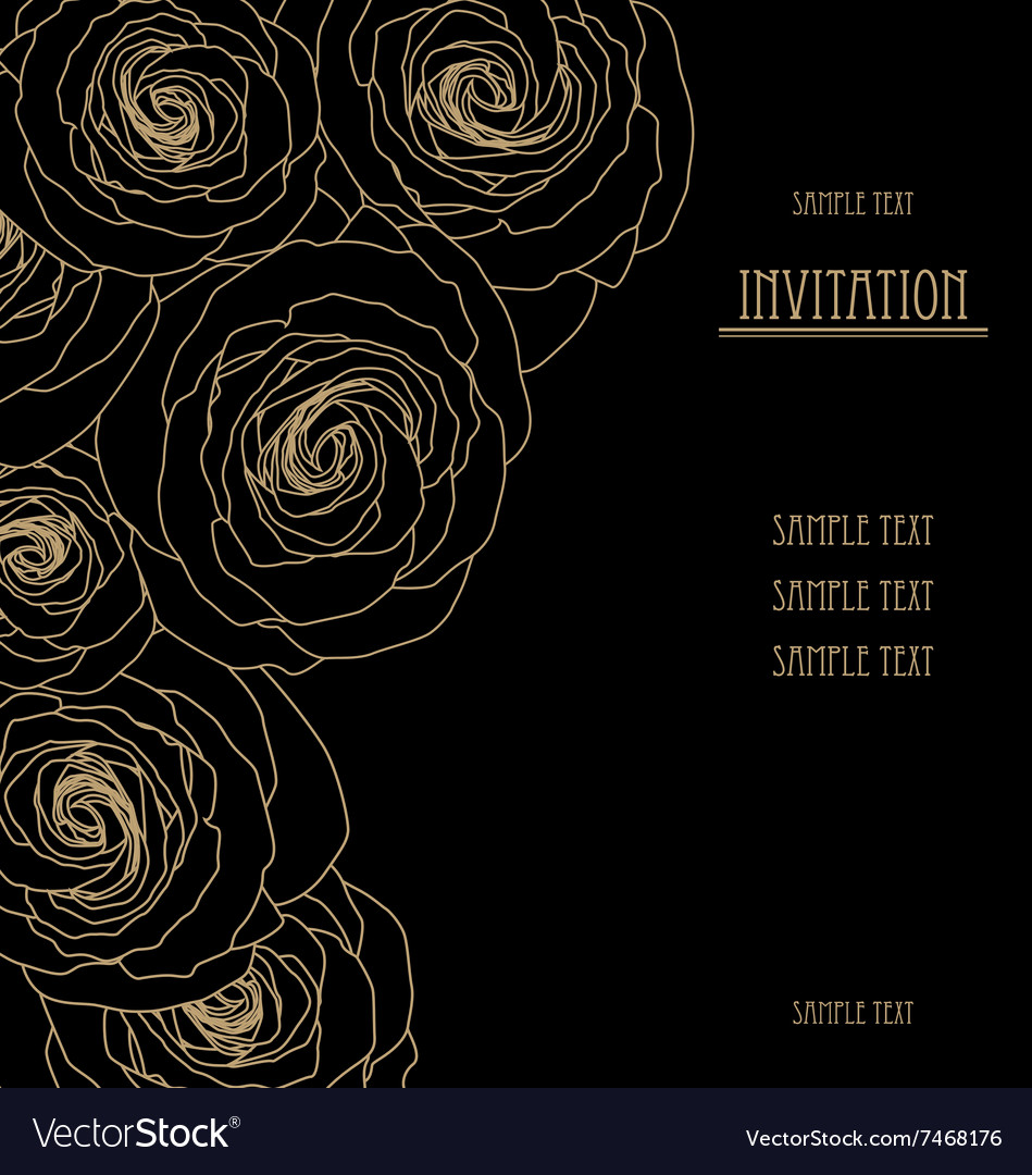 Black Wallpaper With Big Roses Invitation Card