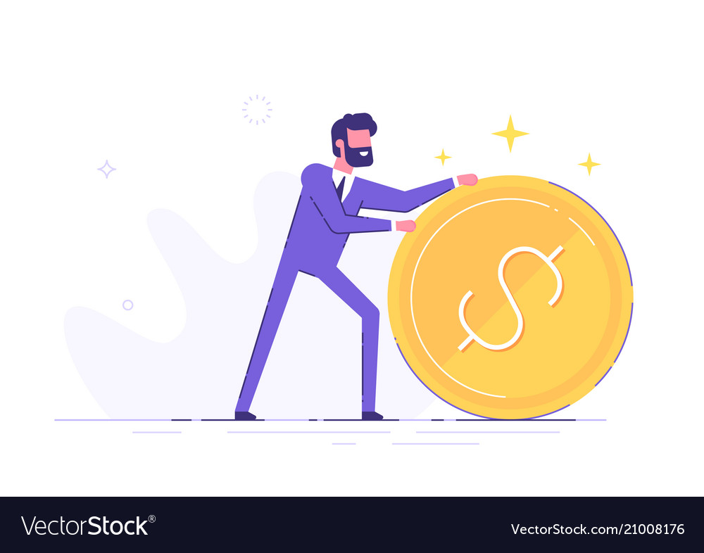 Businessman is rolling a huge golden dollar coin