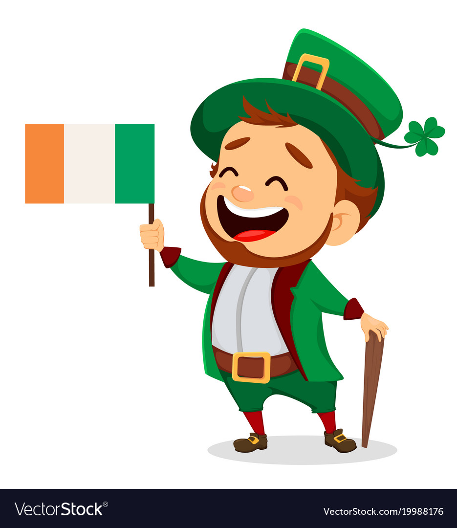 Cartoon funny leprechaun with irish flag and cane vector image altavistaventures