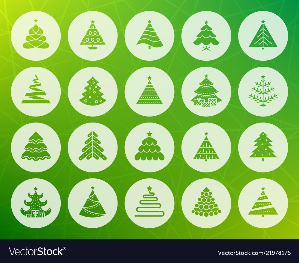 Christmas tree shape carved flat icons set