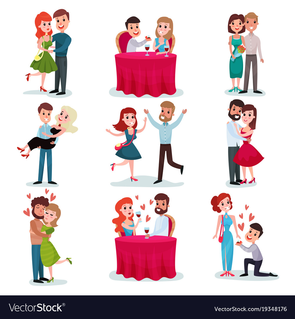 Couples in love set happy lovers on date at