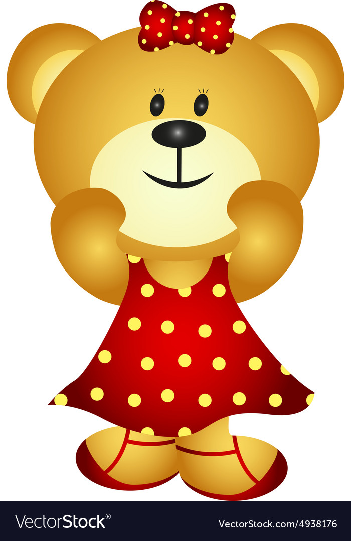 Cute Cartoon Girl Bear vector image