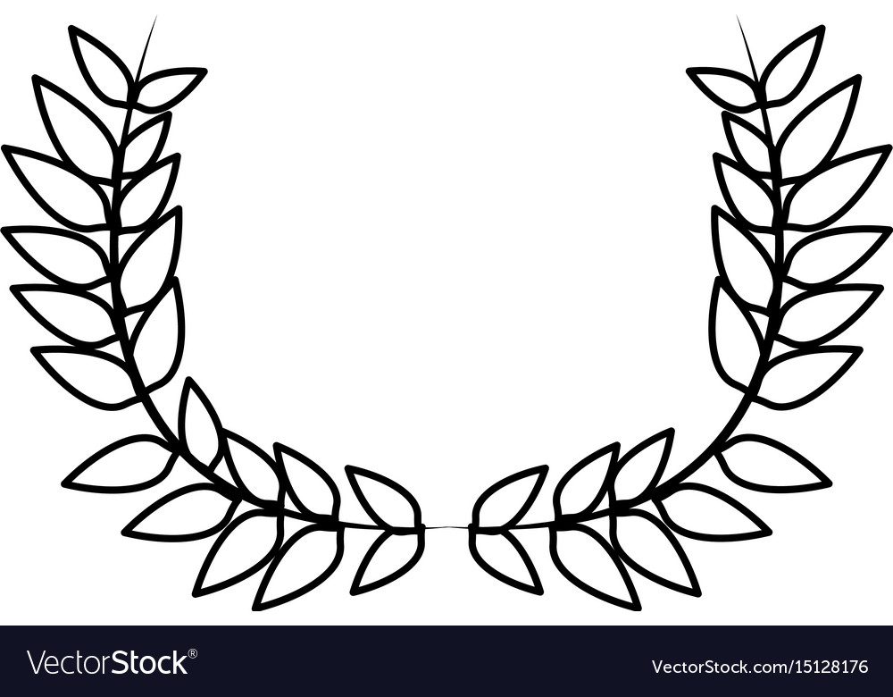 Drawing Crown Half Flower Natural Decoration Vector Image