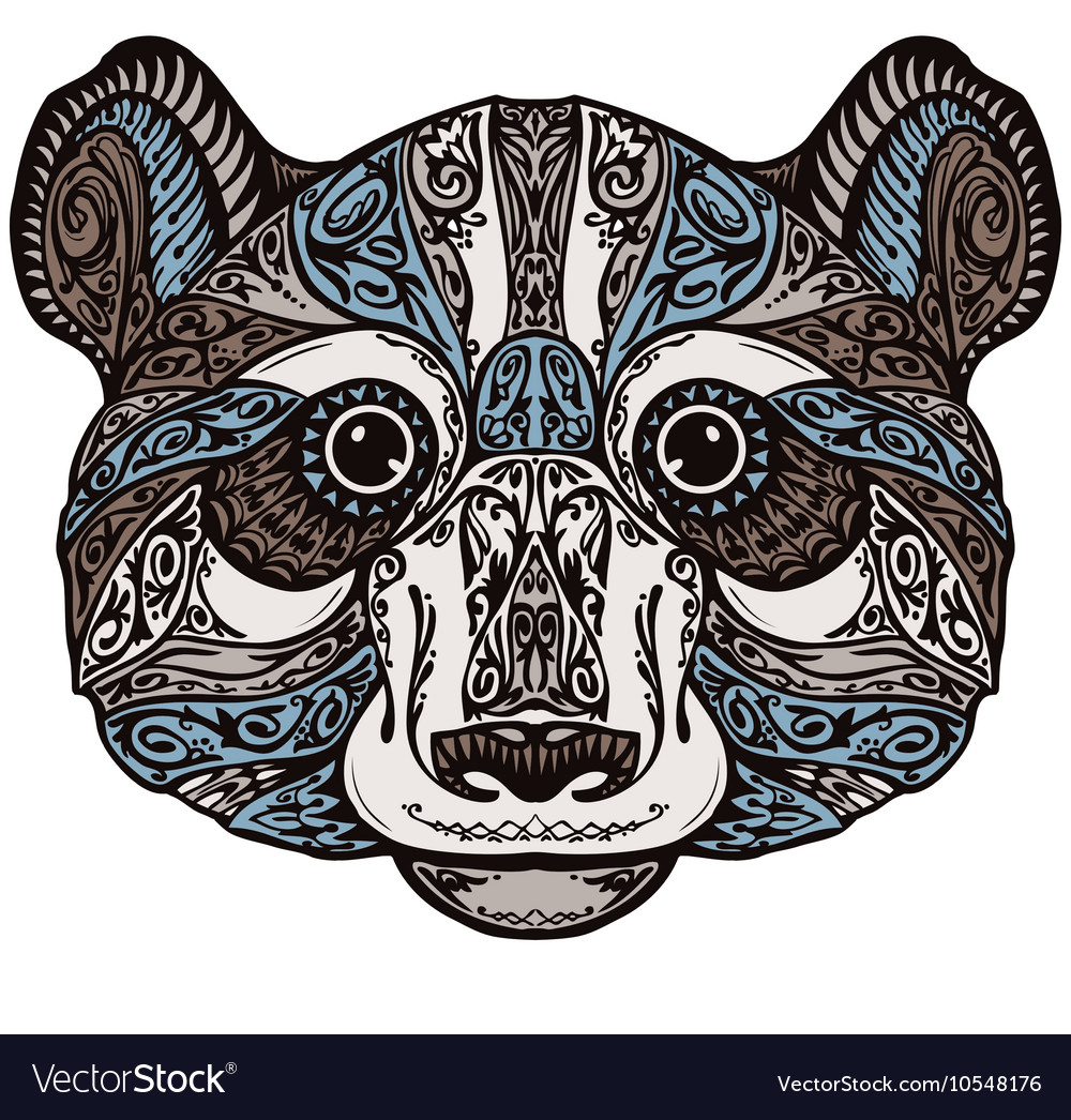 Ethnic ornamented panda or bear Hand drawn