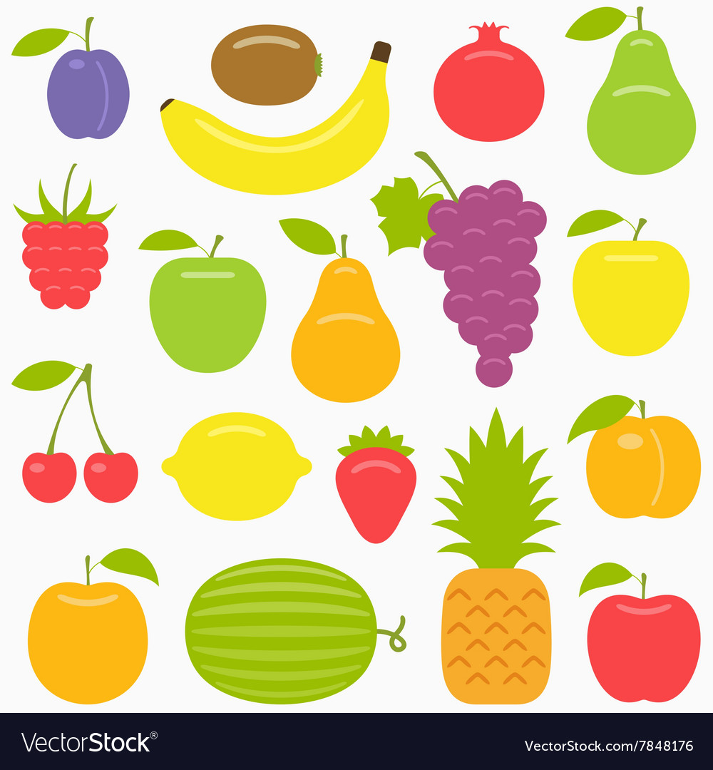 Fruits set vector image