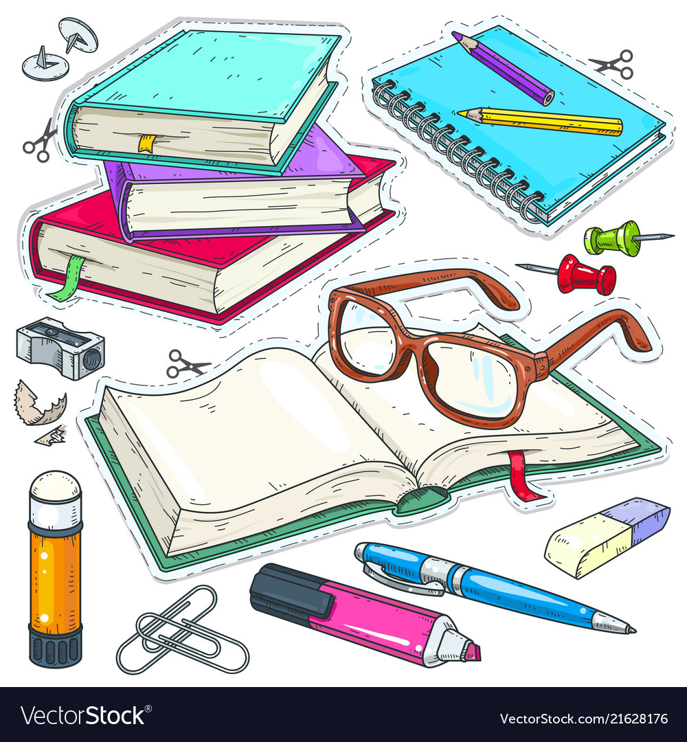 Icons colored stationery for school and