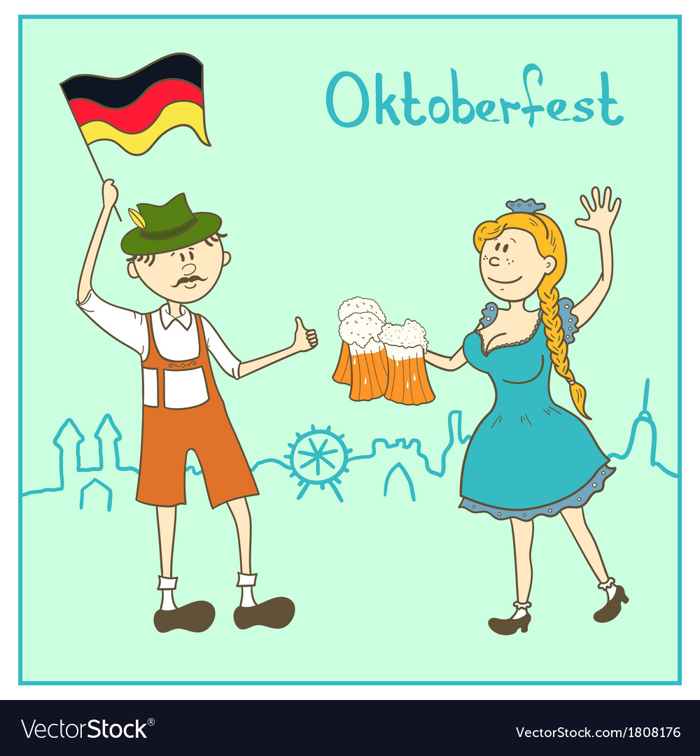 Man and girl with beer and the flag of Germany
