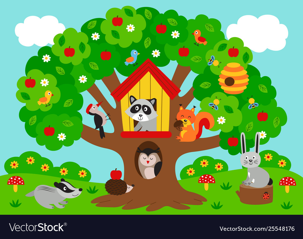 Poster tree with forest animals