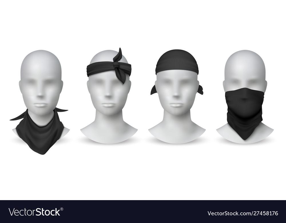 Realistic black bandana handkerchief or buff on
