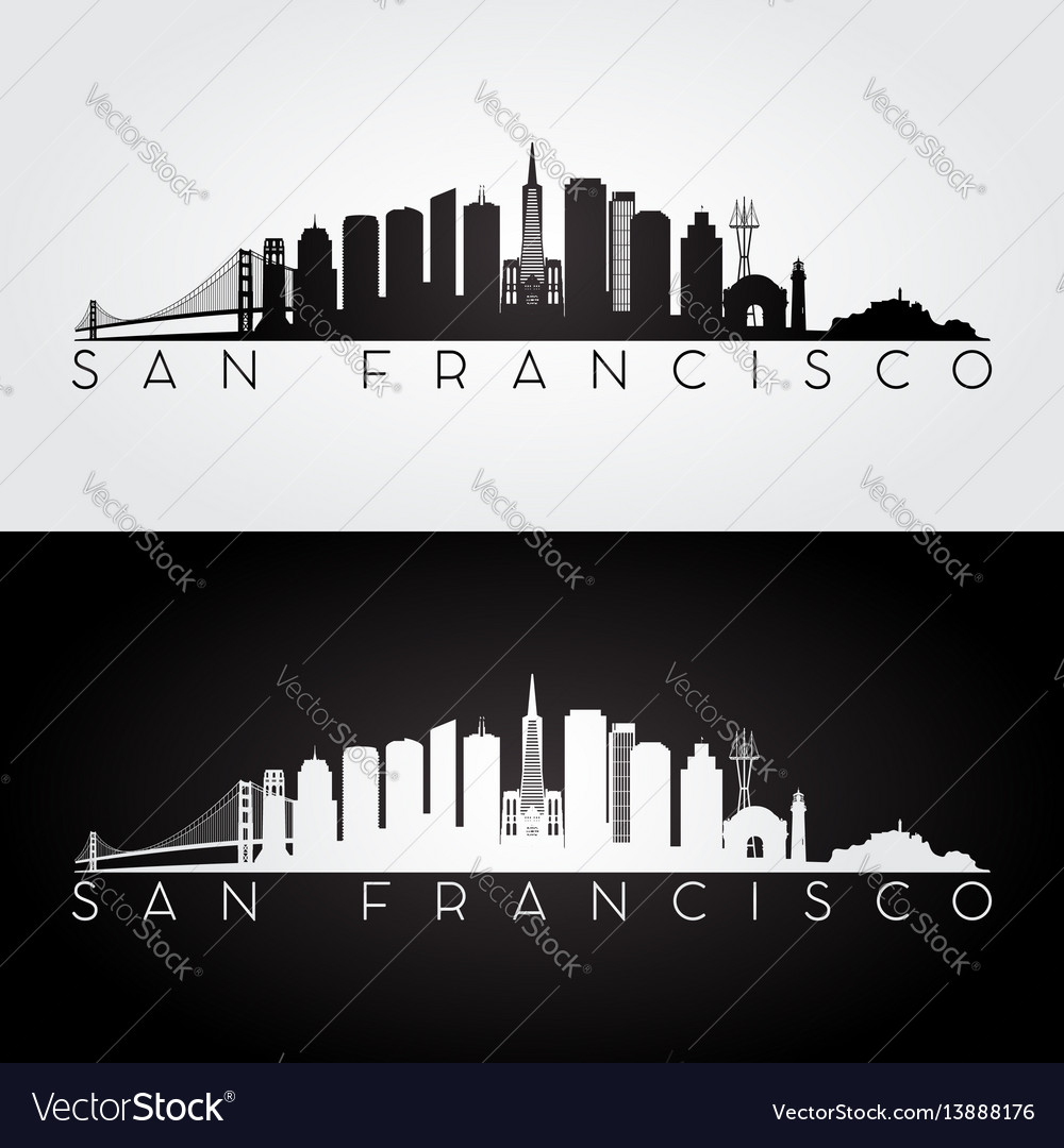 San francisco usa skyline and landmarks silhouette