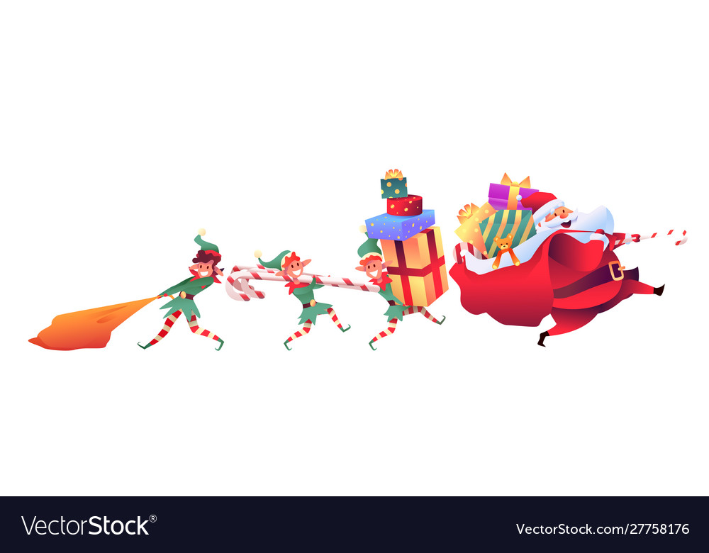 Santa claus with elves with present bags