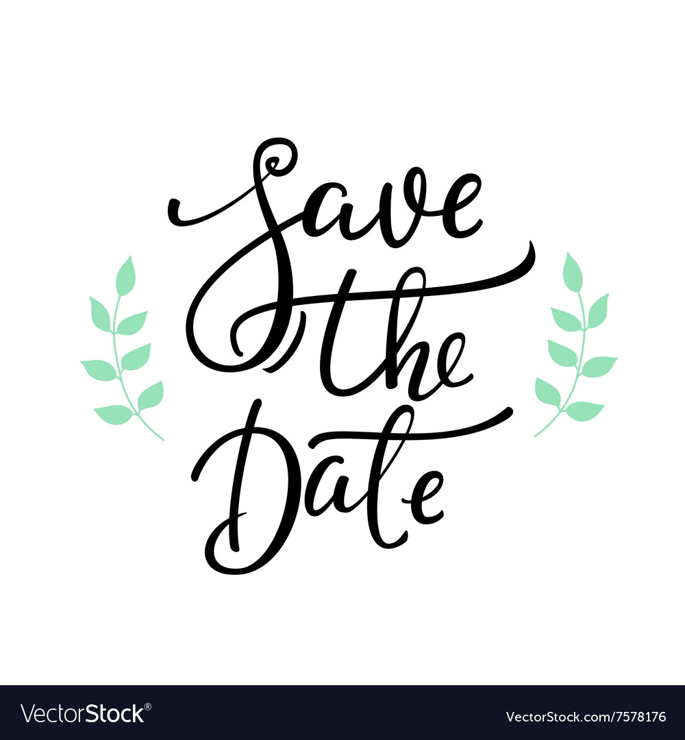 save the date lettering decor royalty free vector image