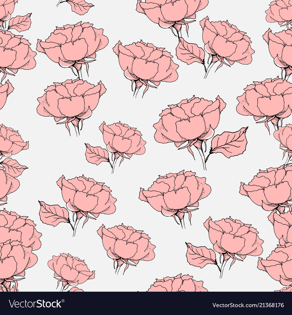 Seamless pattern with pink roses on grey