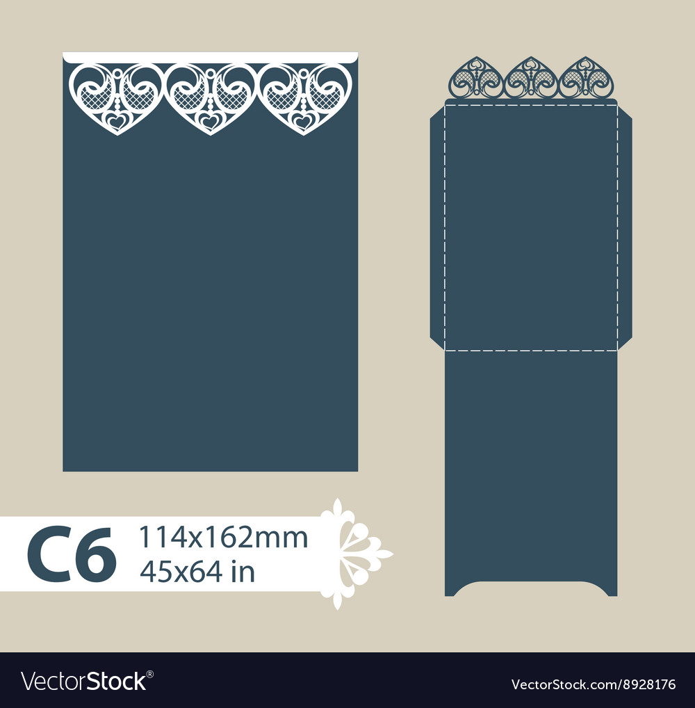Template envelope with carved openwork pattern