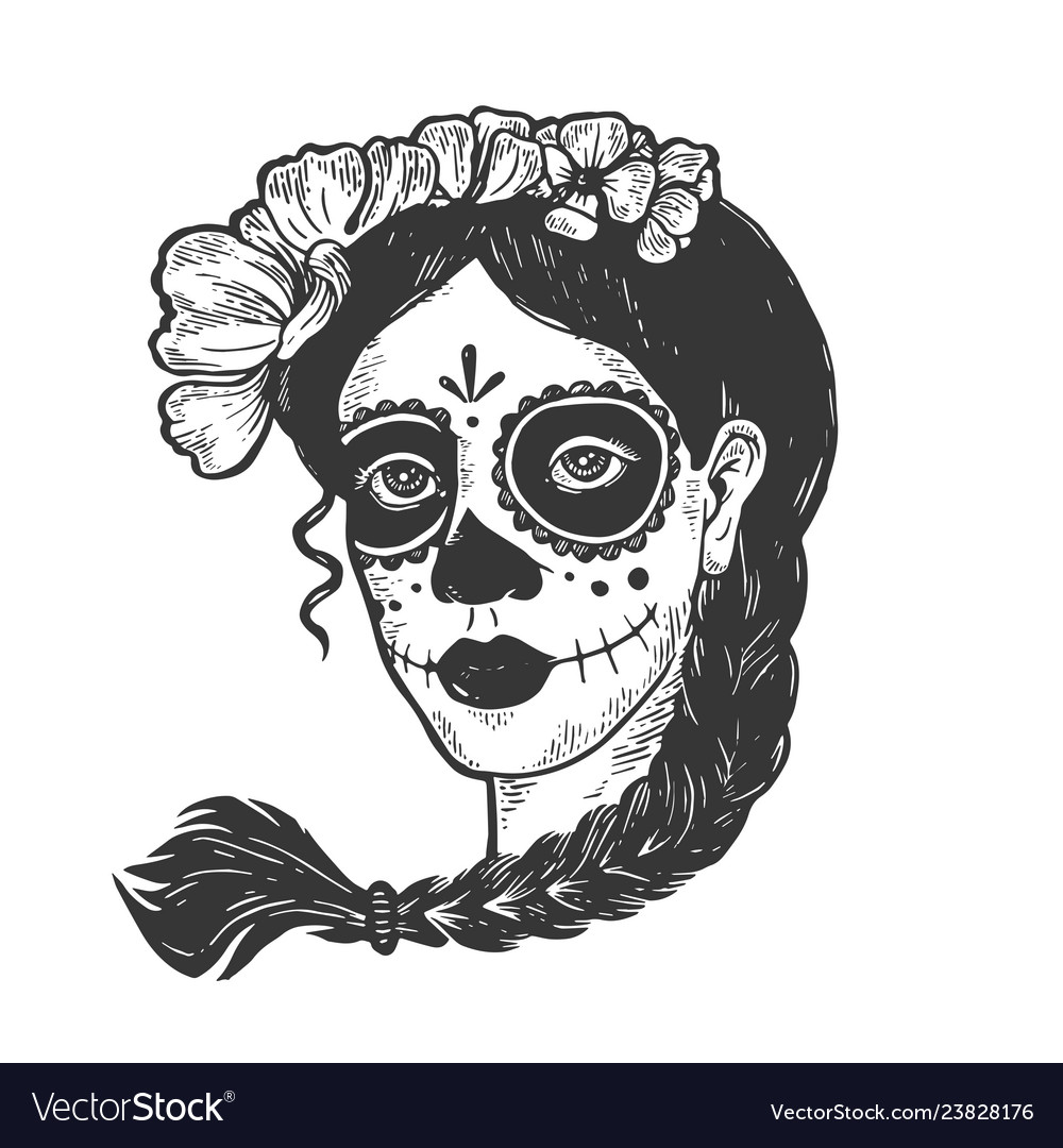 Woman with dead makeup engraving