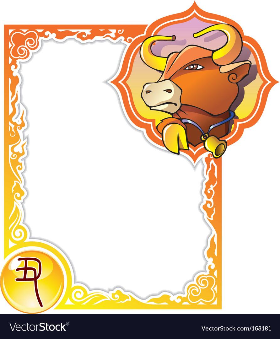 Chinese horoscope frame series bull vector image