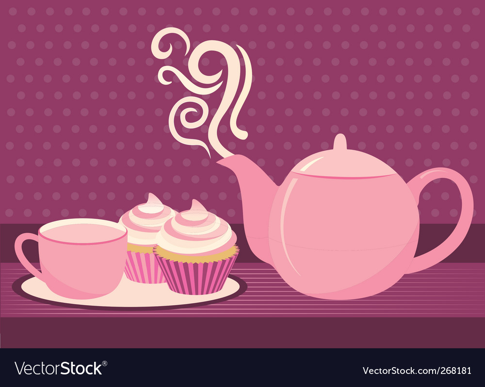 Cupcake and tea vector image