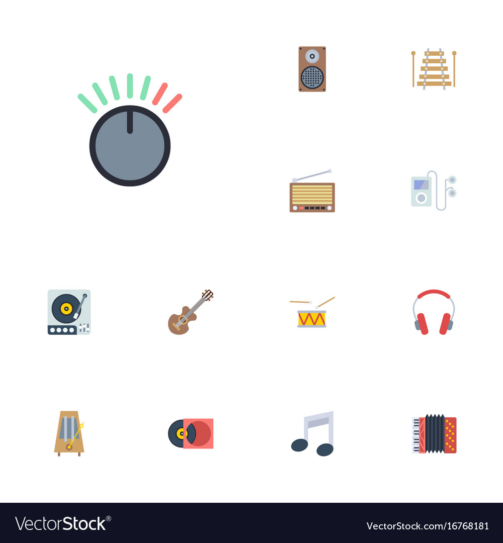 Flat icons tambourine musical instrument vector image