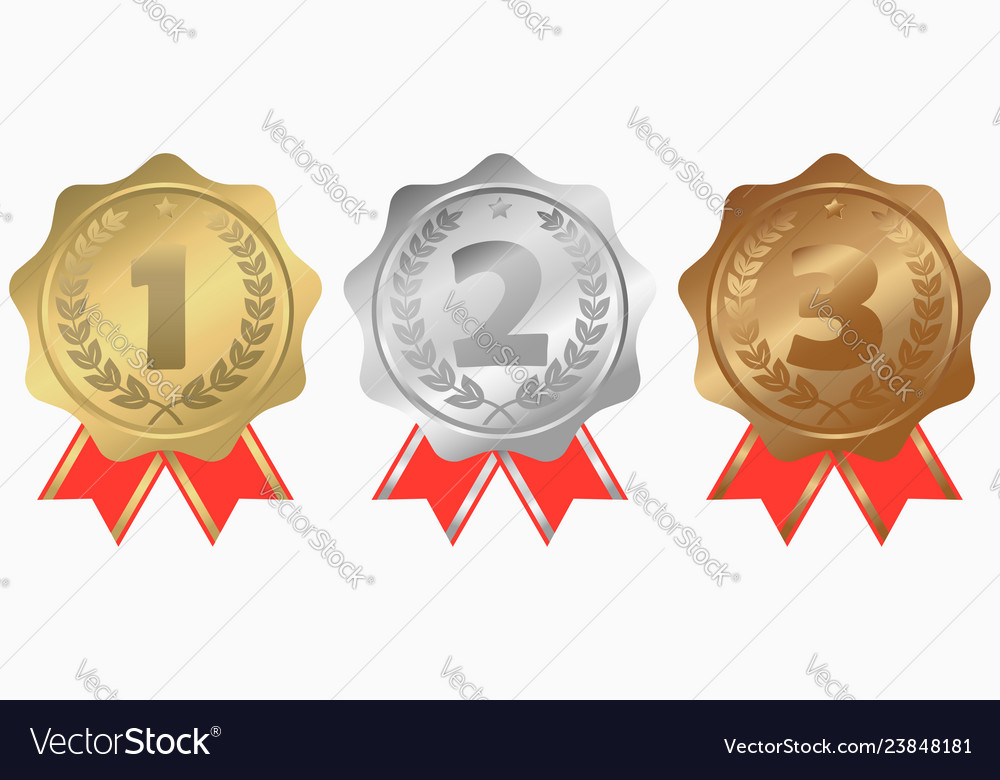 Gold silver and bronze medals with ribbon