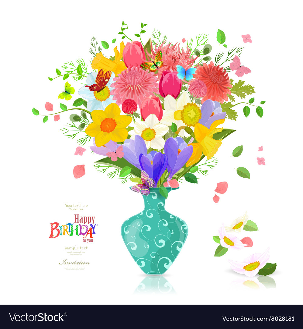 Invitation Card With Bouquet Of Spring Flowers In Vector Image