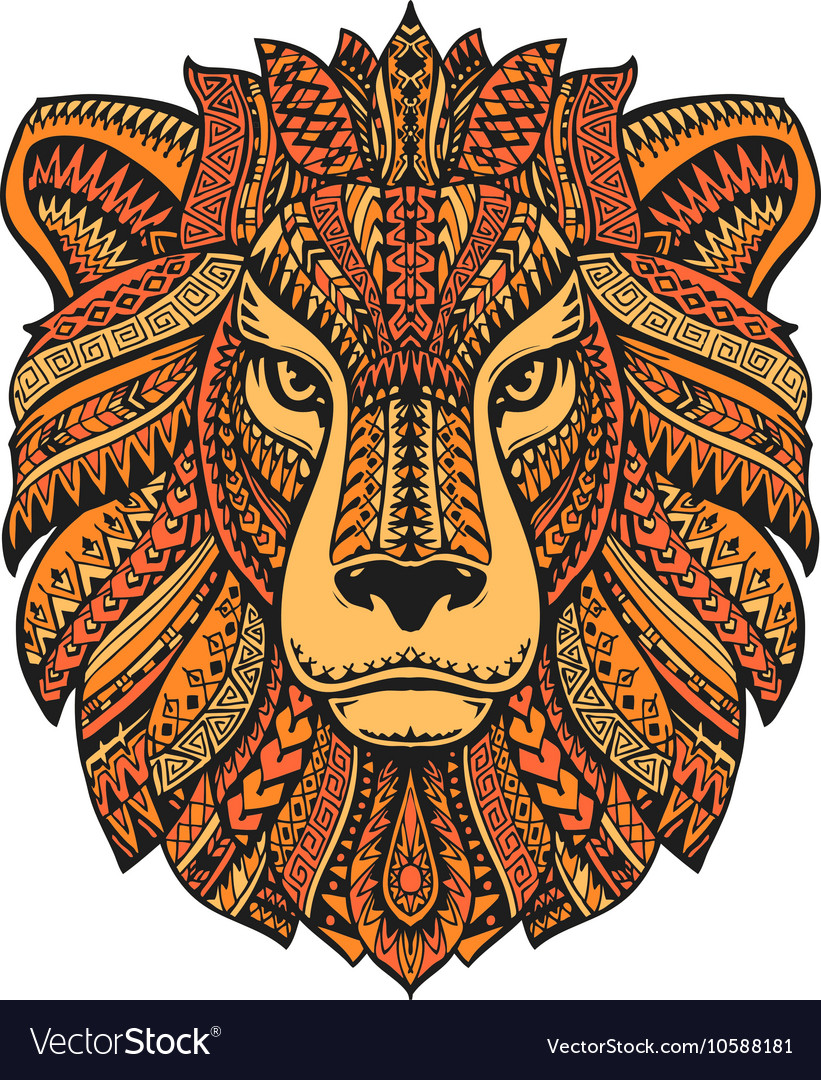 Lion head isolated on white background Hand drawn