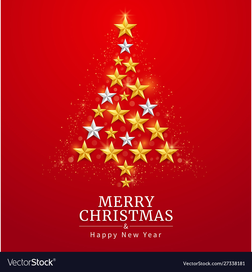 Merry christmas and happy new year card with star