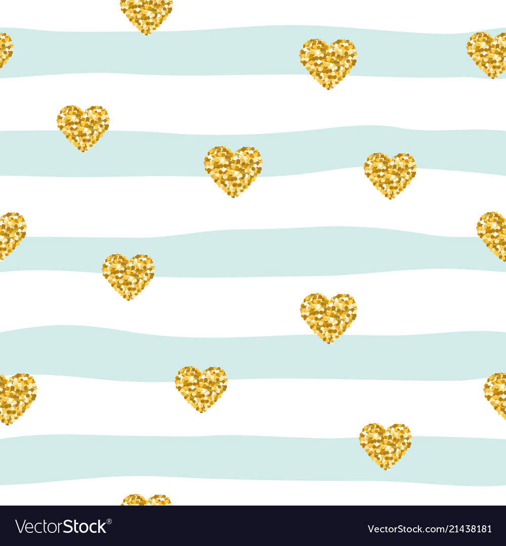 Seamless pattern with glitter confetti hearts on