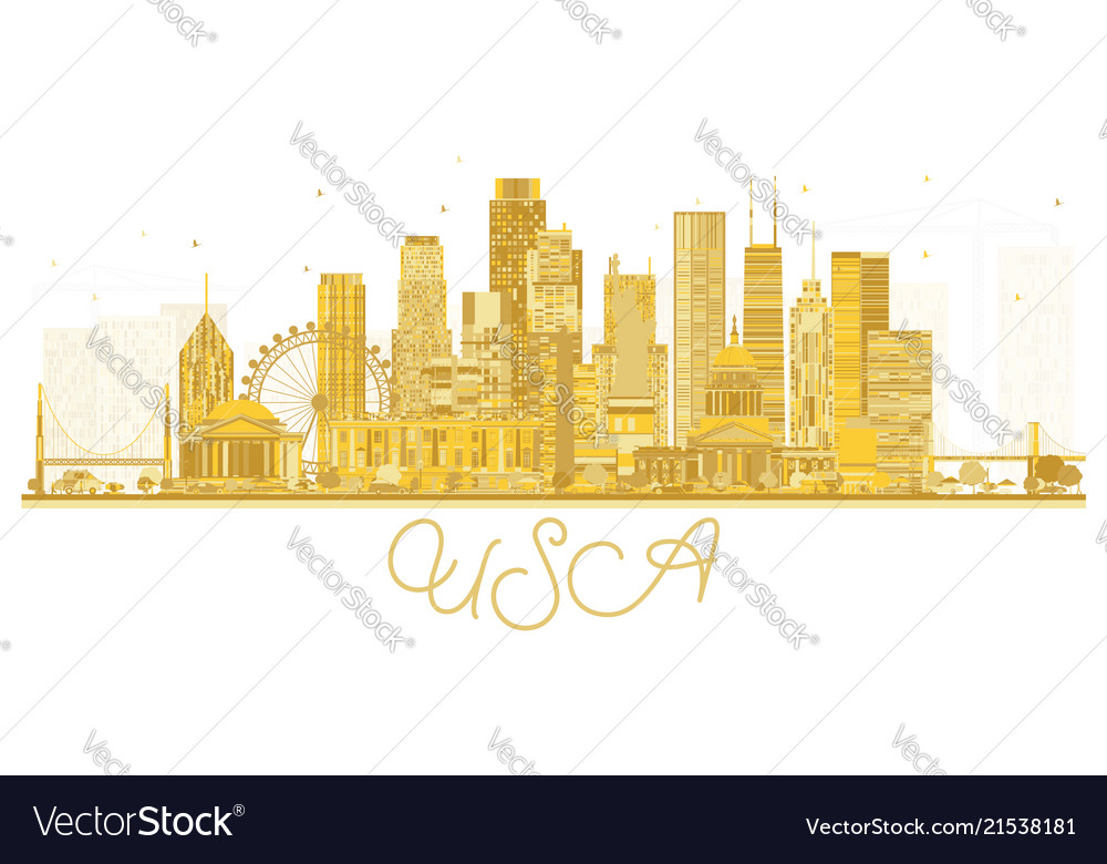 Usa city skyline silhouette with golden