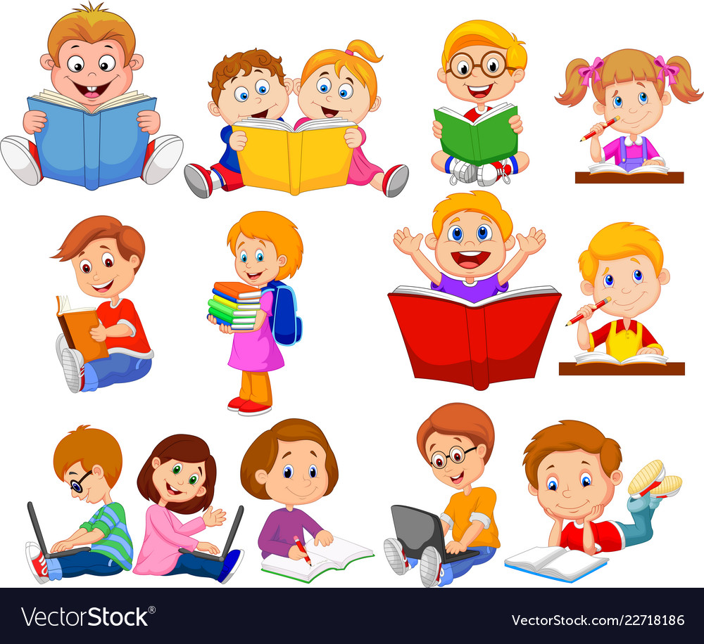 Cartoon school children reading book and operating