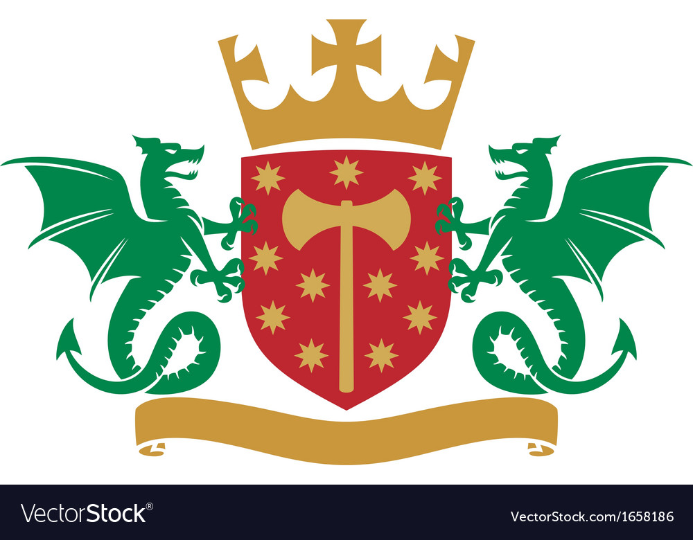 Coat of arms - dragons shield crown and banner vector image