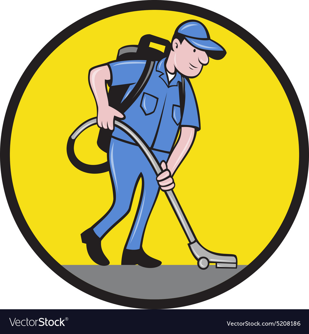 Commercial Cleaner Janitor Vacuum Circle Cartoon vector image